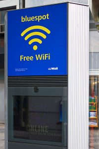 Outdoor advertising including internet kiosk and public Wi-Fi