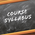 "chalk board with ""course syllabus"""
