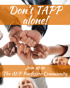 joined fists with title: Don't TAPP alone! Join us in The A&P Professor Community