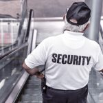 security agent on escalator