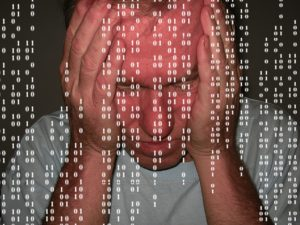 white man with superimposed computer code