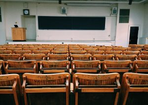 photo of an empty lecture hall from the back