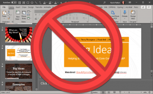 edit screen of PowerPoint with red circle & slash symbol