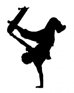 silhouette of a person doing a handstand with a skateboard