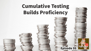 increasingly high stacks of coins with caption: cumulative testing build proficiency